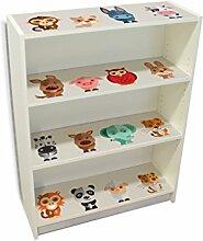 YOURDEA - Kinderzimmer Möbel Klebefolie IKEA Billy Regal Böden 100x80cm mit Motiv: Freunde inklusive Rakel SET