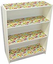 YOURDEA - Kinderzimmer Möbel Klebefolie IKEA Billy Regal Böden 100x80cm mit Motiv: Vogel mit Mütze inklusive Rakel