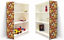 YOURDEA - Klebefolie Kinderzimmer Möbel IKEA Billy Regal 100x80cm mit Motiv: Sonnengesichter für beide Seitenwände