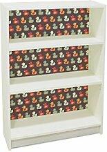 YOURDEA - Klebefolie Kinderzimmer Möbel IKEA Billy Regal 100x80cm mit Motiv: Entchen inklusive Rakel