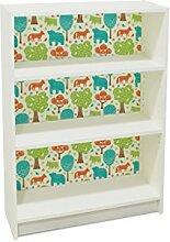 YOURDEA - Klebefolie Kinderzimmer Möbel IKEA Billy Regal 100x80cm mit Motiv: Fuchs Bär Wald inklusive Rakel SET