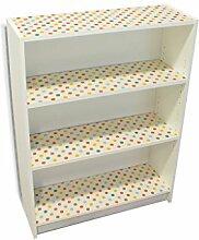 YOURDEA - Klebefolie Kinderzimmer Möbel IKEA Billy Regal Böden 100x80cm mit Motiv: Bunte Punkte inklusive Rakel SET