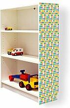 YOURDEA - Klebefolie Möbel IKEA Billy Regal 100x80cm mit Motiv: Pailletten Oval für die rechte Seitenwand