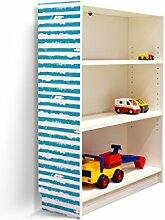 YOURDEA - Klebefolie Möbel IKEA Billy Regal 100x80cm mit Motiv: Blaue Streifen für die linke Seitenwand