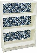 YOURDEA - Klebefolie Möbel IKEA Billy Regal 100x80cm mit Motiv: Damast Blau inklusive Rakel