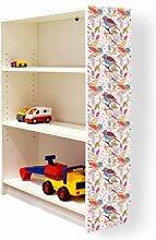 YOURDEA - Klebefolie Möbel IKEA Billy Regal 100x80cm mit Motiv: Vögel Diagonal für die rechte Seitenwand