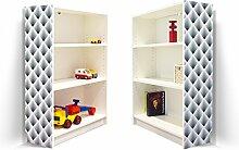 YOURDEA - Klebefolie Möbel IKEA Billy Regal 100x80cm mit Motiv: Raster 3D Grau für beide Seitenwände