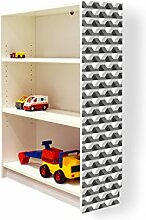 YOURDEA - Klebefolie Möbel IKEA Billy Regal 100x80cm mit Motiv: Schräge Quader für die rechte Seitenwand