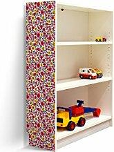 YOURDEA - Klebefolie Möbel IKEA Billy Regal 100x80cm mit Motiv: Rot Gelb Blau für die linke Seitenwand