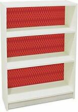 YOURDEA - Klebefolie Möbel IKEA Billy Regal 100x80cm mit Motiv: Gitter Rot inklusive Rakel