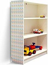 YOURDEA - Klebefolie Möbel IKEA Billy Regal 100x80cm mit Motiv: Zig Zag Pastell für die linke Seitenwand