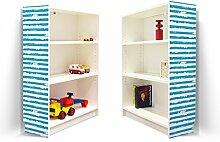 YOURDEA - Klebefolie Möbel IKEA Billy Regal 100x80cm mit Motiv: Blaue Streifen für beide Seitenwände