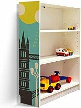 YOURDEA - Klebefolie Möbel IKEA Billy Regal 100x80cm mit Motiv: London für die linke Seitenwand