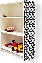 YOURDEA - Klebefolie Möbel IKEA Billy Regal 100x80cm mit Motiv: Monochrom für die rechte Seitenwand