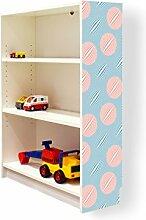 YOURDEA - Klebefolie Möbel IKEA Billy Regal 100x80cm mit Motiv: Bälle Blau Rot für die rechte Seitenwand