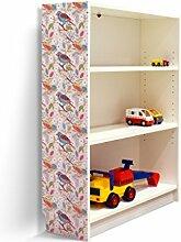 YOURDEA - Klebefolie Möbel IKEA Billy Regal 100x80cm mit Motiv: Vögel Diagonal für die linke Seitenwand