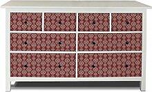 yourdea Möbel-Folie für IKEA HEMNES Kommode 8 Schubladen / Möbel-Aufkleber zum selbst gestalten / Klebe-Sticker mit Motiv Damast Rot 3