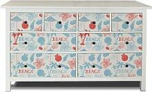 yourdea Möbel-Folie für IKEA HEMNES Kommode 8 Schubladen / Möbel-Aufkleber zum selbst gestalten / Klebe-Sticker mit Motiv Beach Rot Blau