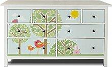 yourdea Möbel-Folie für IKEA HEMNES Kommode 8 Schubladen / Möbel-Aufkleber zum selbst gestalten / Klebe-Sticker mit Motiv Drei Bäume