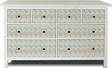 yourdea Möbel-Folie für IKEA HEMNES Kommode 8 Schubladen / Möbel-Aufkleber zum selbst gestalten / Klebe-Sticker mit Motiv Zig Zag Pastell