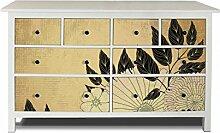 yourdea Möbel-Folie für IKEA HEMNES Kommode 8 Schubladen / Möbel-Aufkleber zum selbst gestalten / Klebe-Sticker mit Motiv Floral Fernos