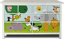 yourdea Möbel-Folie für IKEA HEMNES Kommode 8 Schubladen / Möbel-Aufkleber zum selbst gestalten / Klebe-Sticker mit Motiv Wilde Tiere