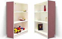 YOURDEA - Möbel Klebefolie für IKEA Billy Regal 100x80cm mit Motiv: Fächer Weinrot für beide Seitenwände
