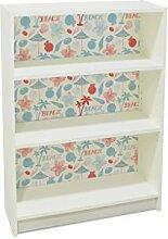 YOURDEA - Möbel Klebefolie für IKEA Billy Regal 100x80cm mit Motiv: Beach Rot Blau inklusive Rakel SET