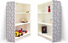 YOURDEA - Möbel Klebefolie für IKEA Billy Regal 100x80cm mit Motiv: Flamingos Blass für beide Seitenwände