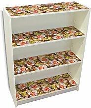 YOURDEA - Möbel Klebefolie für IKEA Billy Regal Böden 100x80cm Sticker mit Motiv: Gemalte Rosen