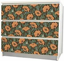 YOURDEA - Möbel Schubfachaufkleber für IKEA MALM Kommode Möbel Schubfach mit Motiv: Zeichnung Mohn inklusive Rakel SET