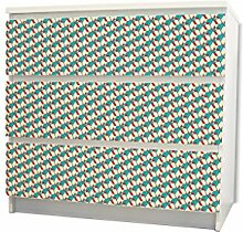 YOURDEA - Möbel Schubfachsticker für IKEA MALM Kommode Möbel Schubfach mit Motiv: RWB Würfel inklusive Rakel
