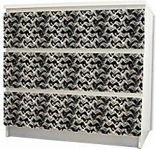 YOURDEA - Möbel Schubfachsticker für IKEA MALM Kommode Möbel Schubfach mit Motiv: Kraniche inklusive Rakel SET
