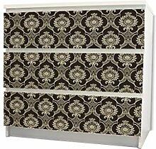 YOURDEA - Möbel Schubfachsticker für IKEA MALM Kommode Möbel Schubfach mit Motiv: Bombay inklusive Rakel SET