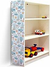 YOURDEA - Möbelaufkleber Kinderzimmer für IKEA Billy Regal 100x80cm mit Motiv: Boote Flugzeuge für die linke Seitenwand