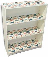YOURDEA - Möbelaufkleber Kinderzimmer IKEA Billy Regal Böden 100x80cm mit Motiv: Vogelschatten inklusive Rakel SET