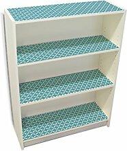 YOURDEA - Möbelsticker IKEA Billy Regal Böden 100x80cm Möbel Sticker mit Motiv: Fächer Hellblau inklusive Rakel
