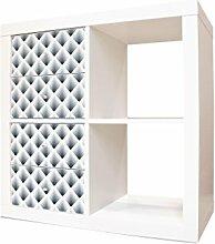 YOURDEA - Schranksticker Möbel für IKEA Expedit / Kallax Kommode Regal mit Motiv Raster 3D Grau