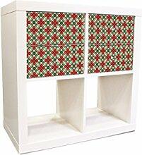 YOURDEA - Schranksticker Möbel für IKEA Expedit / Kallax Kommode Regal mit Motiv Rotes Kleebla