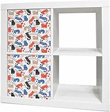 YOURDEA - Sticker Kinderzimmer Möbel Aufkleber für IKEA Expedit / Kallax Regal mit Motiv: Katzen