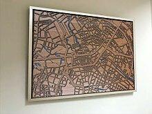 Yourlivingart Gerahmte 3D Karte von Berlin - 50x70