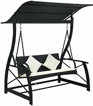 YOUTHUP Hollywoodschaukel 3-Sitzer mit Dach Poly