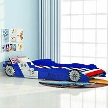 YOUTHUP Kinder Rennwagen-Bett 90x200 cm Blau