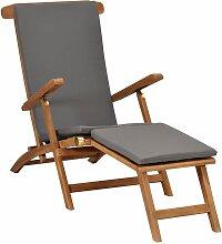 YOUTHUP Liegestuhl mit Auflage Dunkelgrau