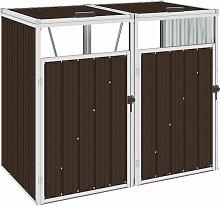 YOUTHUP Mülltonnenbox für 2 Mülltonnen Braun