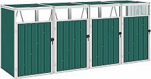 YOUTHUP Mülltonnenbox für 4 Mülltonnen Grün