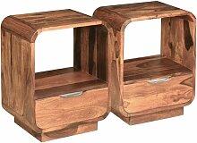 YOUTHUP Nachttisch mit Schublade 2 Stk. Massivholz