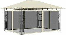 YOUTHUP Pavillon mit Moskitonetz 4x3x2,73 m Creme