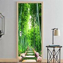 YPXXPY Tür Wandaufkleber 3D Tür Aufkleber Bambus