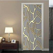 YPXXPY Tür Wandaufkleber 3D Tür Aufkleber Golden